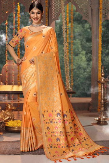 Embroidery And Jacquard Work Orange Banarasi Silk Saree With Cotton Blouse