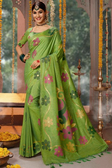 Green Jacquard And Zari Work Cotton Saree With Embroidery Work Blouse