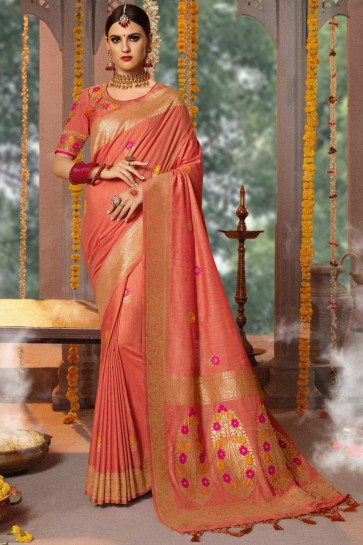 Jacquard Fabric Peach Embroidery And Thread Work Saree With Cotton Blouse