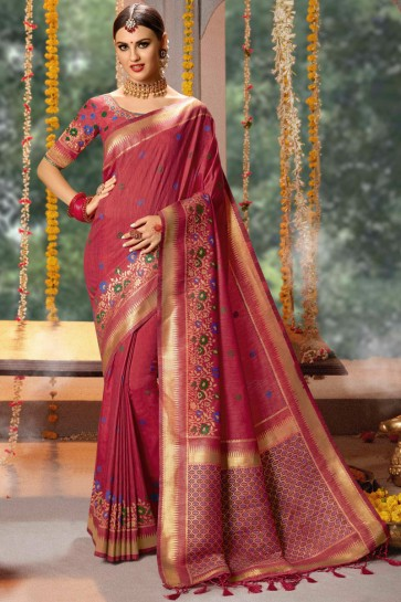 Jacquard And Cotton Fabric Maroon Thread And Zari Work Saree And Blouse