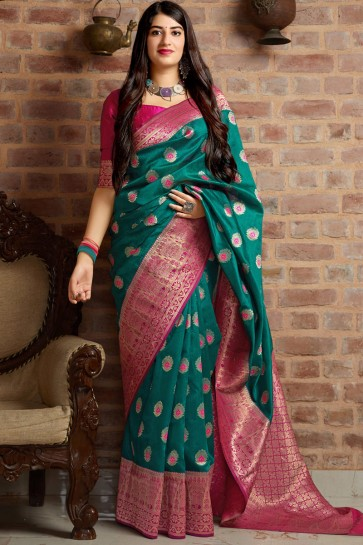 Splendid Teal Zari Work And Jacquard Work Banarasi Silk Saree And Blouse