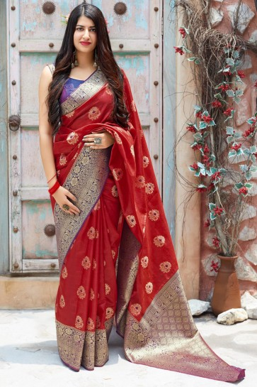 Red Weaving Work And Jacquard Work Designer Saree With Border Work Blouse