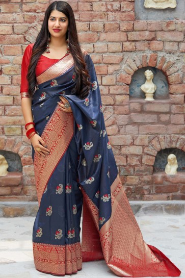 Navy Blue Jacquard Work And Zari Work Banarasi Silk Saree With Border Work Blouse