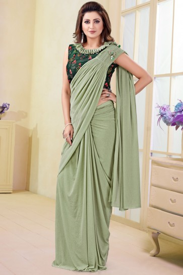 Splendid Pista Imported Flare Saree With Flower Work Blouse