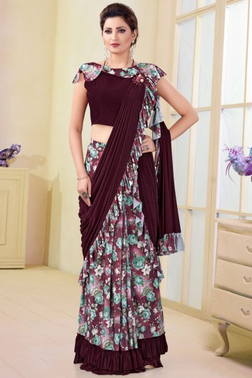 Pleasing Imported Multi Color Printed Work Flare Saree And Blouse
