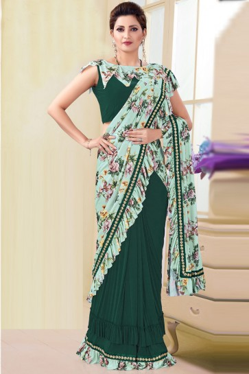 Aqua And Green Thread Work And Printed Imported Flare Saree And Blouse