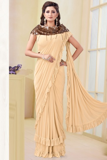 Party Wear Cream Imported Flare Saree With Mirror Work Blouse