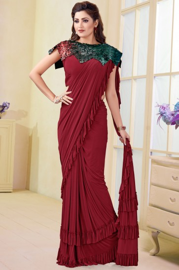 Graceful Maroon Imported Flare Saree With Mirror Work Blouse