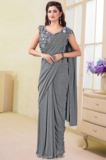 Gorgeous Imported Grey Flare Saree With Flower Work Blouse