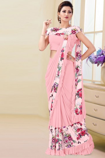 Elegant Imported Pink Printed Work Flare Saree And Blouse