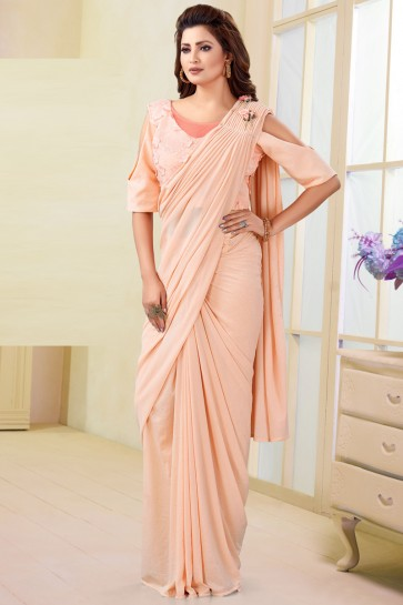 Delicate Imported Peach Flare Saree With Flower Work Blouse