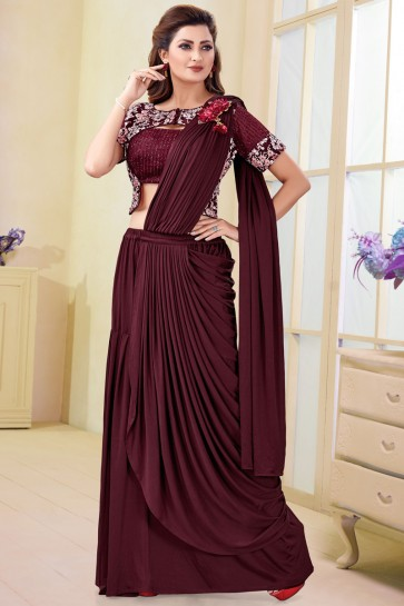 Dazzling Maroon Imported Flare Saree With Embroidery Work Blouse
