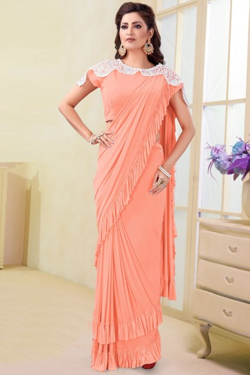 Charming Imported Peach Gold Flare Saree With Net Work Blouse