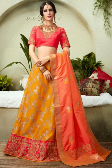 Mustard Embroidred And Stone Work Silk Lehenga Choli With Silk Dupatta