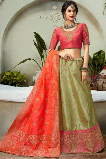 Appealing Pista Zari Work And Embroidred Jacquard Lehenga Choli And Dupatta