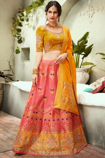 Pink Thread Work And Embroidred Jacquard Lehenga Choli With Silk Dupatta