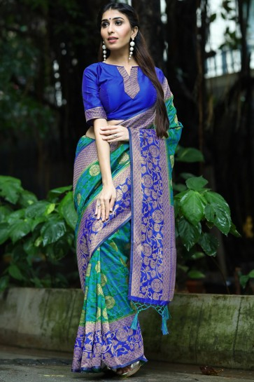 Stylish Teal Weaving Work And Jacquard Work Art Silk Saree And Blouse