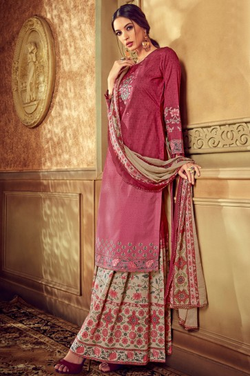 Maroon And Pink Digital Printed Cotton Plazzo Suit With Chiffon Nazmin Dupatta