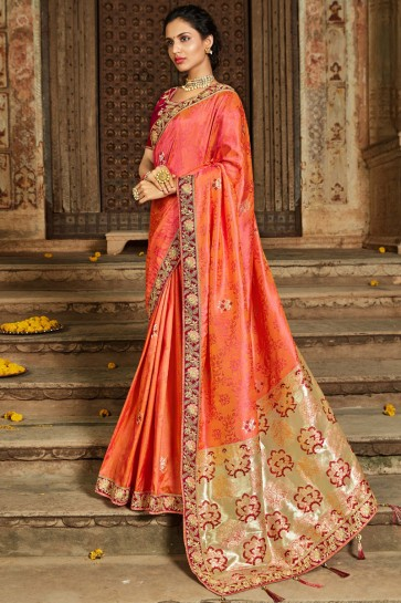 Pretty Orange Banarasi Silk Jacquard Fabric Thread And Zari Work Saree And Blouse
