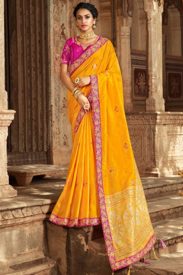 Jacquard And Banarasi Silk Yellow Zari And Hand Work Saree With Thread Work Blouse
