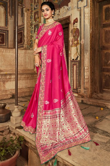 Party Wear Pink Jacquard Hand And Thread Work Saree With Zari Work Blouse