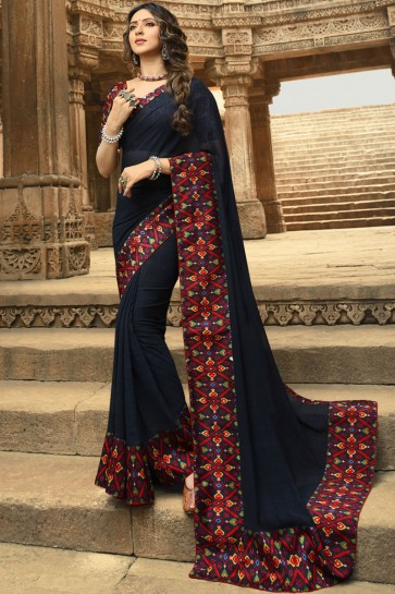 Splendid Navy Blue Printed And Lace Work Georgette Saree And Blouse