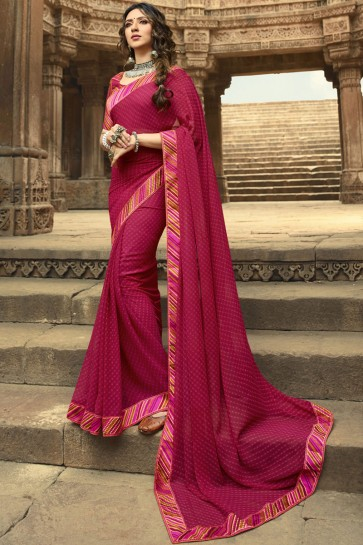 Superb Pink Georgette Lace Work And Printed Saree And Blouse
