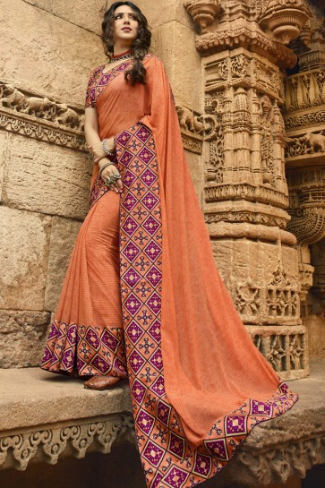 Optimum Peach Border Work And Printed Georgette Saree And Blouse