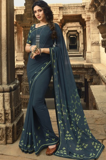 Admirable Georgette Grey Lace Work And Printed Saree And Blouse