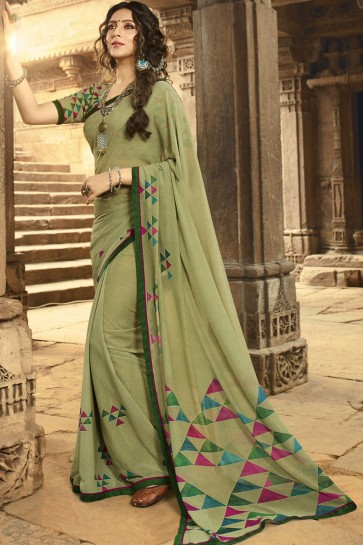 Solid Pista Georgette Printed And Border Work Saree And Blouse