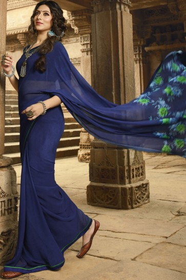 Delicate Georgette Blue Border Work Saree With Printed Blouse