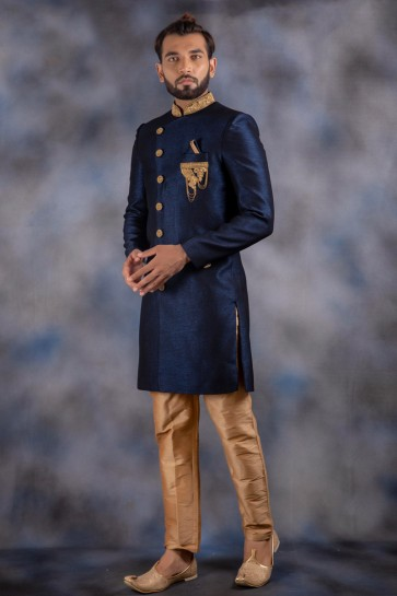 Admirable Navy Blue Jacquard And Imported Fabric Indo Western With Dhupion Bottom