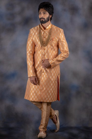 Gorgeous Jacquard And Imported Fabric Peach Thread Work Indo Western