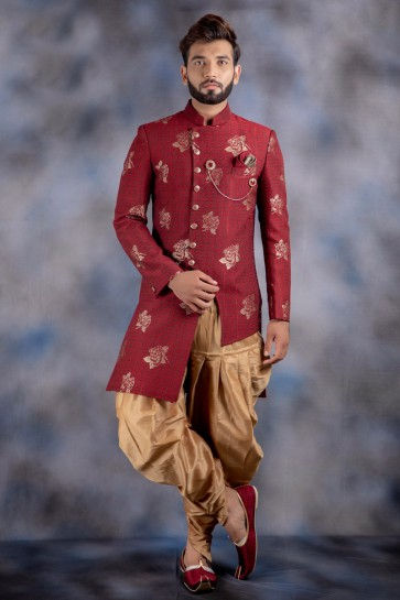 Red Jacquard And Imported Fabric Thread Work Designer Indo Western