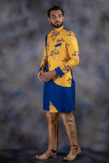Thread Work Yellow And Blue Jacquard And Imported Fabric Indo Western With Dhupion Bottom