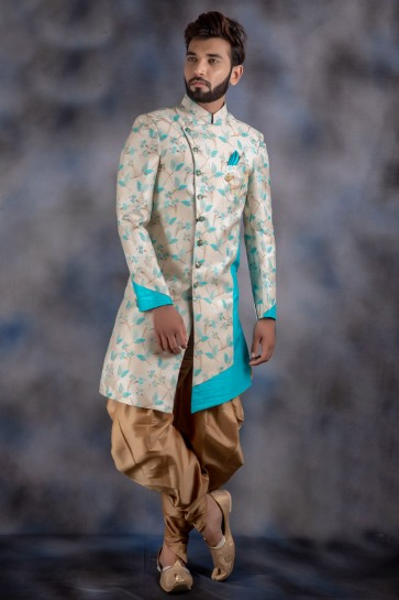 Ultimate Jacquard And Imported Fabric Cream Thread Work Indo Western With Dhupion Bottom