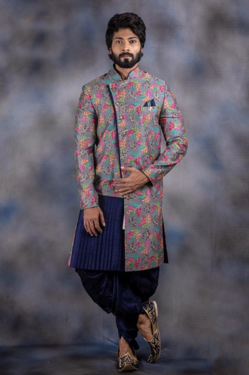 Excellent Thread Work Grey Jacquard And Imported Fabric Indo Western With Dhupion Bottom