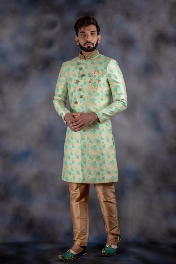 Pleasing Jacquard And Imported Fabric Pista Thread Work Indo Western