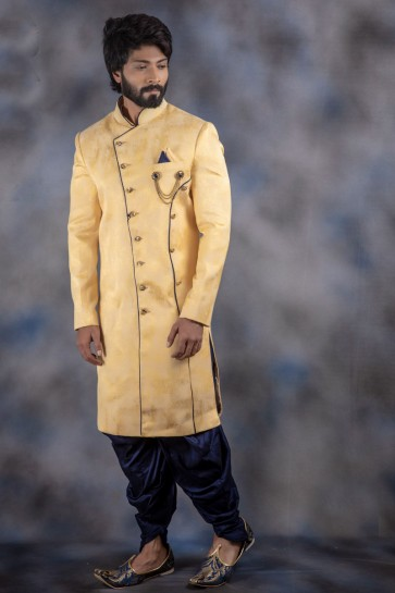 Jacquard And Imported Fabric Yellow Thread Work Indo Western With Dhupion Bottom
