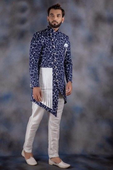 Navy Blue Jacquard And Imported Fabric Thread Work Designer Indo Western