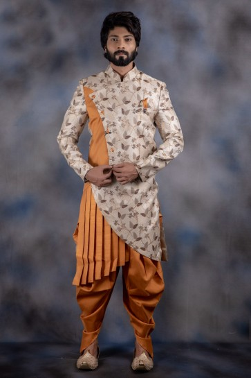 Jacquard And Imported Fabric Off White And Mustard Thread Work Indo Western With Dhupion Bottom