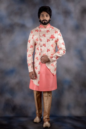 Thread Work Off White And Pink Jacquard And Imported Fabric Indo Western