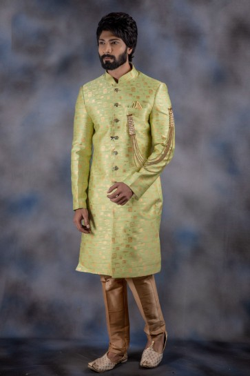 Light Green Jacquard And Imported Fabric Thread Work Indo Western With Dhupion Bottom