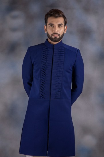 Ultimate Jacquard And Imported Fabric Navy Blue Thread Work Indo Western With Dhupion Bottom