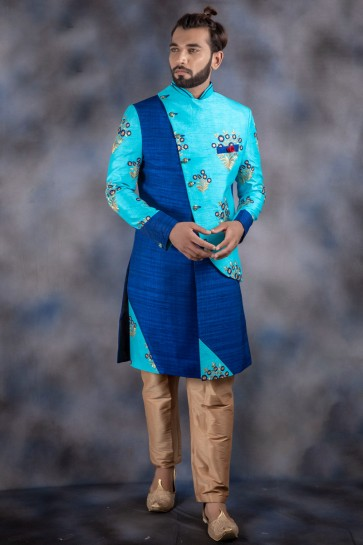 Excellent Thread Work Sky Blue Jacquard And Imported Fabric Indo Western With Dhupion Bottom