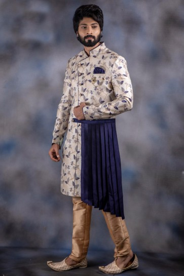 Admirable Cream And Navy Blue Thread Work Jacquard And Imported Fabric Indo Western With Dhupion Bottom