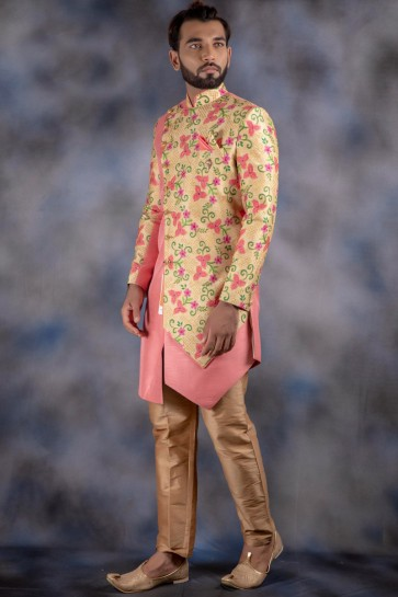 Light Pink And Golden Jacquard And Imported Fabric Thread Work Designer Indo Western