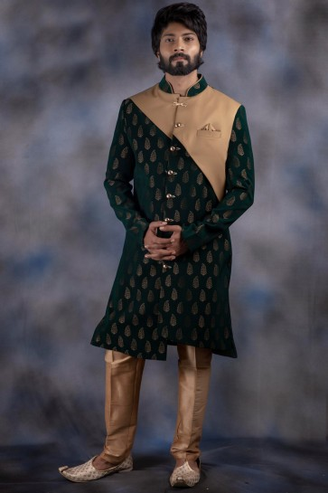 Thread Work Mehendi Green Jacquard And Imported Fabric Indo Western With Dhupion Bottom