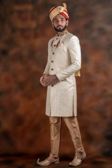 Admirable White Thread Work Jacquard And Imported Fabric Indo Western With Dhupion Bottom