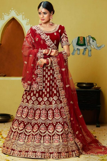 Hand And Stone Work Velvet Fabric Red Designer Lehenga Choli With Net Dupatta